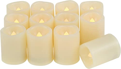 Candle Choice Set of 12 Flameless Candles, Flameless Votive Candles LED Votives with Timer, Battery-operated LED Candles with Timer, Long Battery Life 200 Hours, Battery Included.