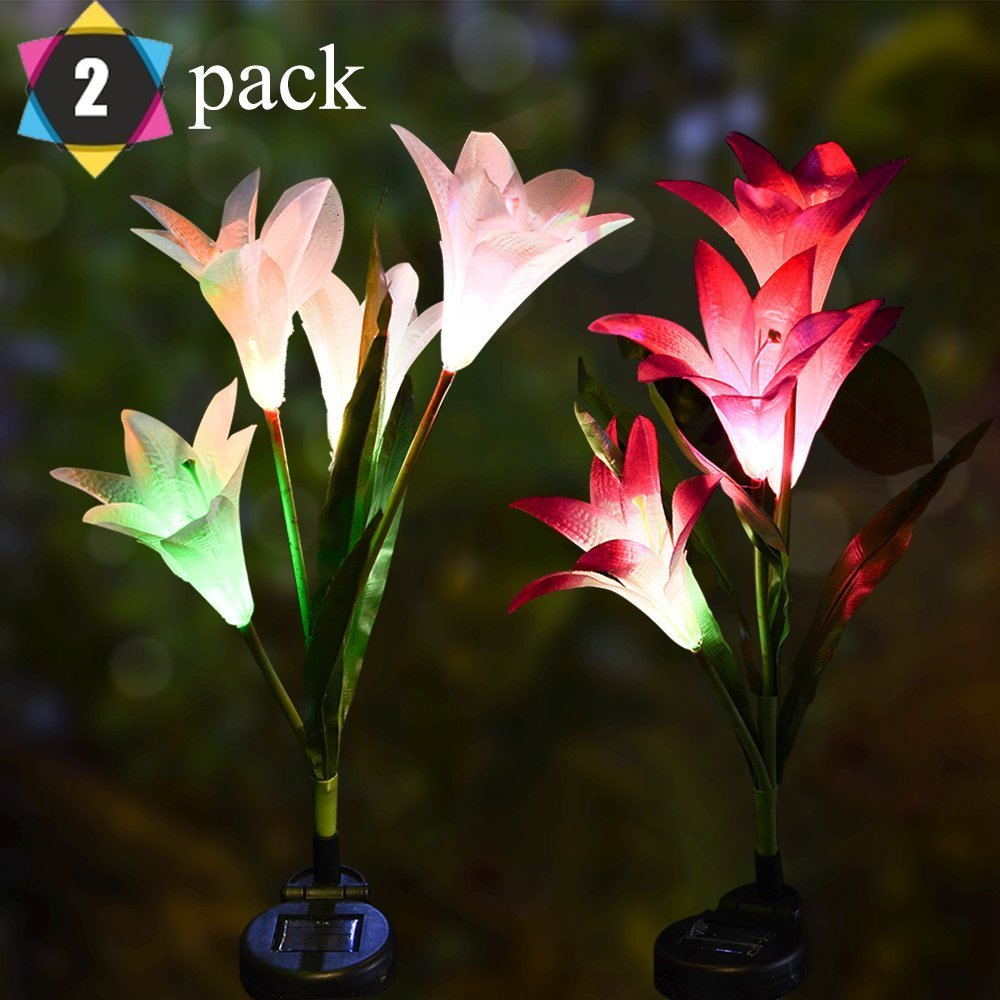Outdoor Solar Garden Stake Lights- GSRING 2 Pack Solar Flowers with 8 Solar Lilies,Multi-Color Changing LED Solar Stake Lights for Garden, Patio, Backyard (White&Purple)