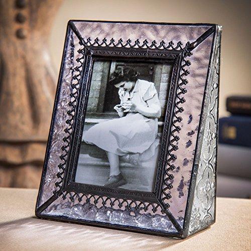 Glass Vintage Lavender (J Devlin Pic 376-2535 Vintage Purple Glass Picture Frame Table Top Photo Frame School Photos 2 1/2 x 3 1/2 Keepsake Gift)