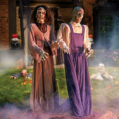 Female Zombie Head Prop (Set of 2 Animated Zombie Halloween Props Life Size Man Woman Halloween Party Decorations)