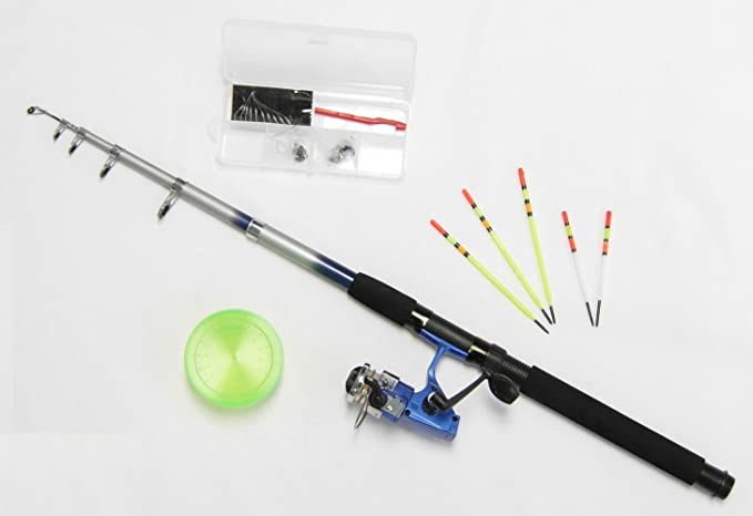 6ft Telescopic Fishing Travel Rod with Reel and 3 Lures for Coarse//Sea Spinning