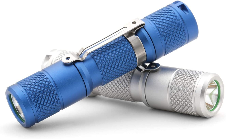 IP68 Waterproof Drop Vega AA//14500 Aluminum Flashlight Black, Cool White 1.2 oz 650 lumens EDC Mini Pocket LED Torch 5 Modes