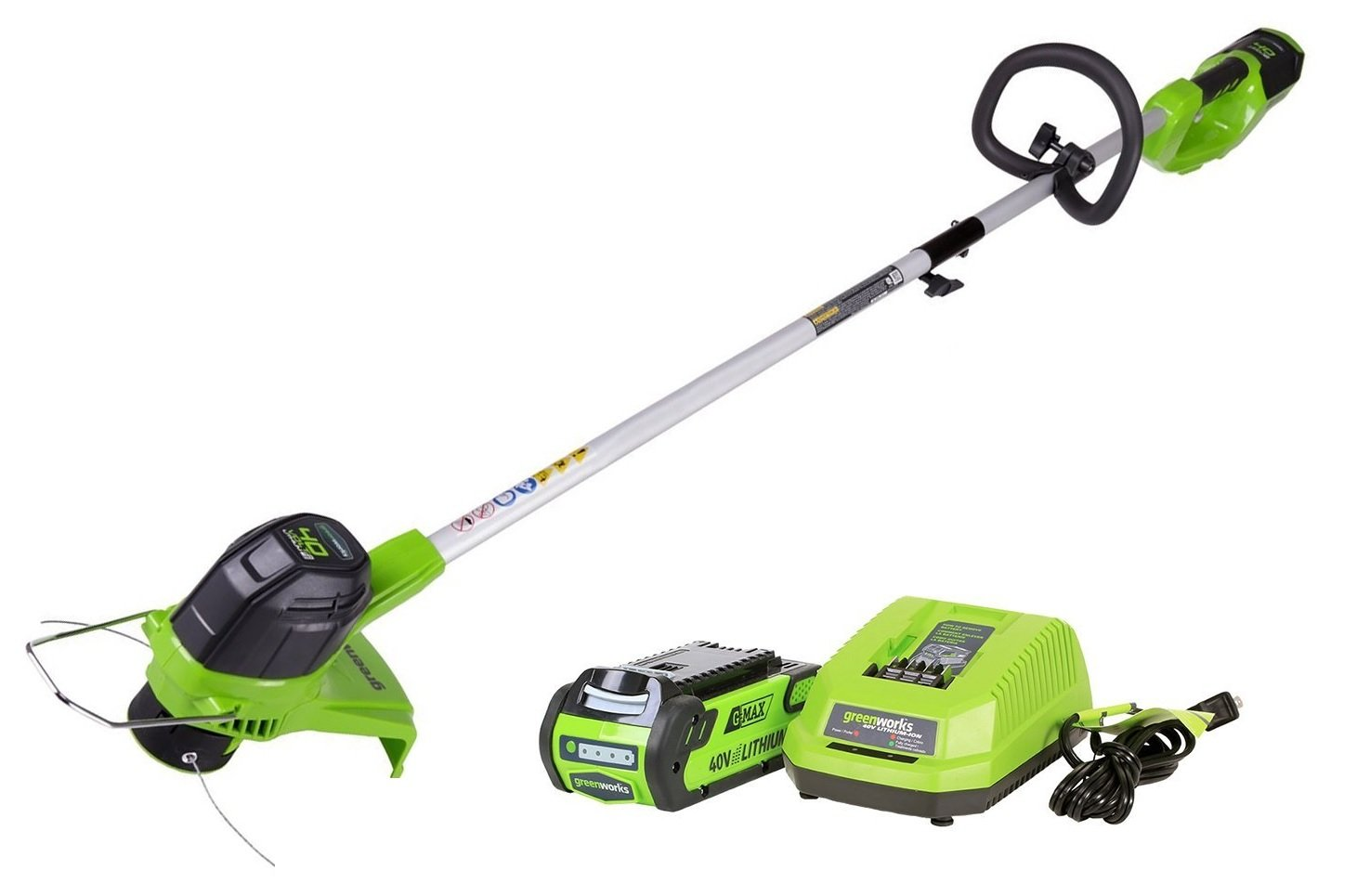 Greenworks Tools 21107 40V Lithium-Ion Cordless Grass Trimmer-30 cm, 21107UA with Universal Charger String Trimmer, Green