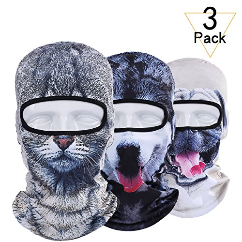 WTACTFUL 3 Pack - 3D Animal Balaclava Head Cove Hood Face Mask Protection Wind Dust Snow UV for Hunt - http://coolthings.us