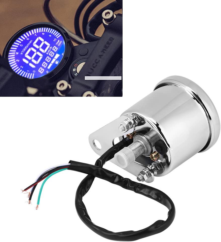 Akozon Speedometer Universal Motorcycle Digital LED LCD Tachometer Speed Gauge Retro Chrome for All Motorcycles with 12V Power Supply