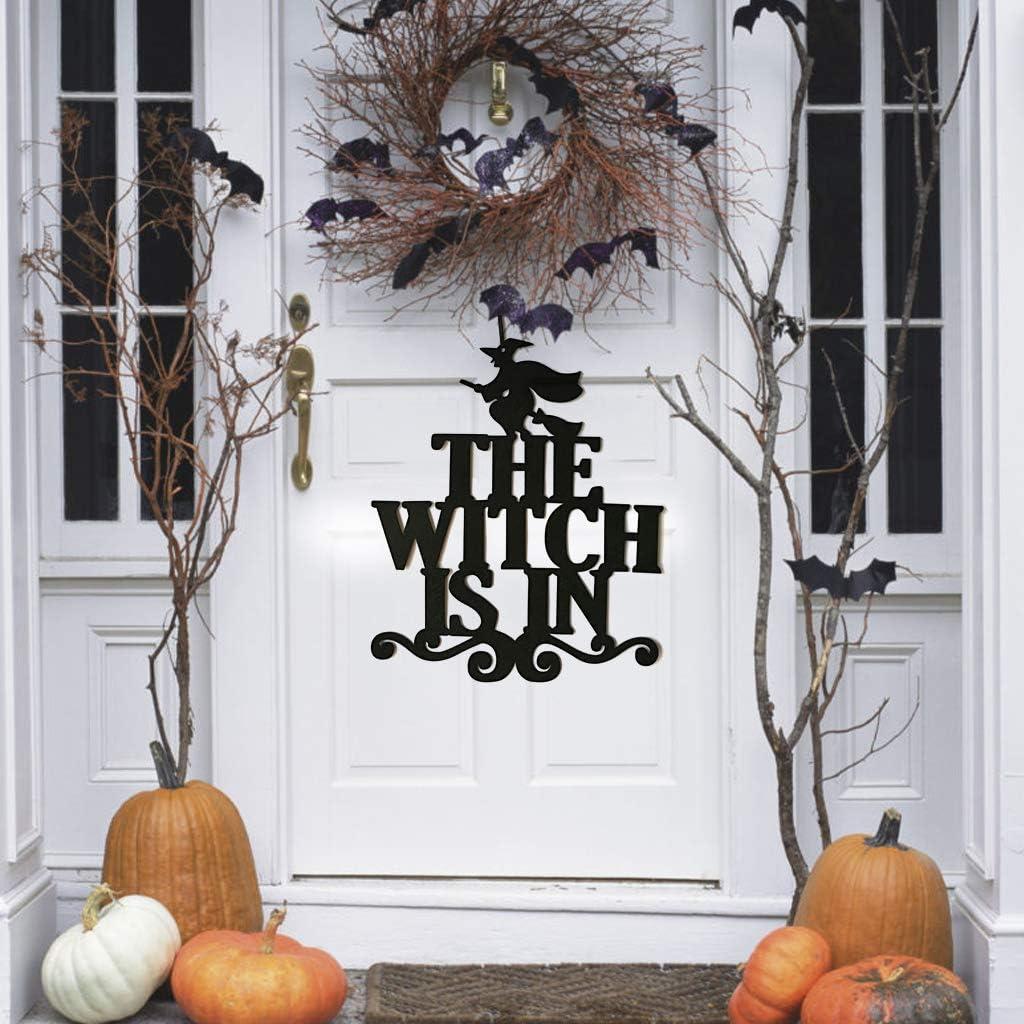 A The Witch est/á en XONOR 2 Piezas de Halloween Que cuelgan el Letrero de Bienvenida para la casa embrujada La Fiesta de Halloween suministra Decoraciones