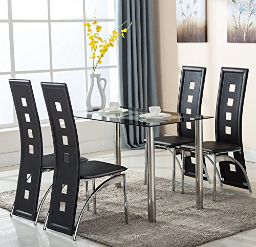 Benlet 5 PCS Kitchen Dining Table Set, Home Dinning Glass Table and PVC Chairs Furniture