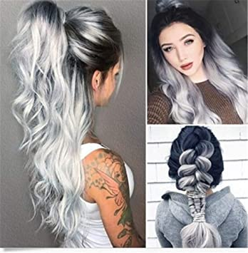 MMWIGS Ombre Gris Pelucas para Mujer Negro Raíces Plata Natural Mira ...