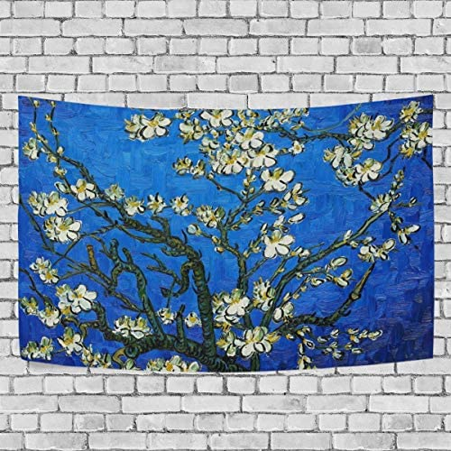JSTEL Van Gogh Almond Blossom Tapestry Wall Hanging Decoration for Apartment Home Decor Living Room Table Throw Bedspread Dorm 90 x 60 inches