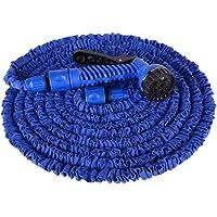 Aufun Gartenschlauch Flexibler 30m 100FT Dehnbarer Flexischlauch Flexi Wasserschlauch Flexibel Multisfunktionsbrause mit 7 Funktionen für Garten (Blau, 22.5)