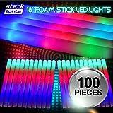 100 PCS Light Up 18'' Foam Sticks LED Wands Rally Rave Batons DJ Flashing Glow Stick