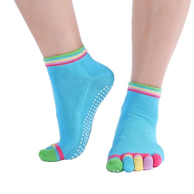 COMVIP Mujeres El algodón no Slip Pilates Barre cinco dedos ...