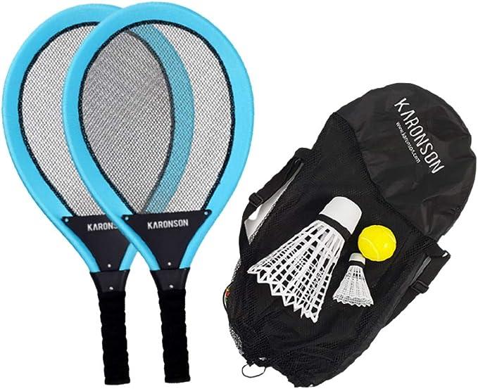 Carbon Shaft Badminton Racket Set of 4 for Backyard Family Game w// Carry Bag