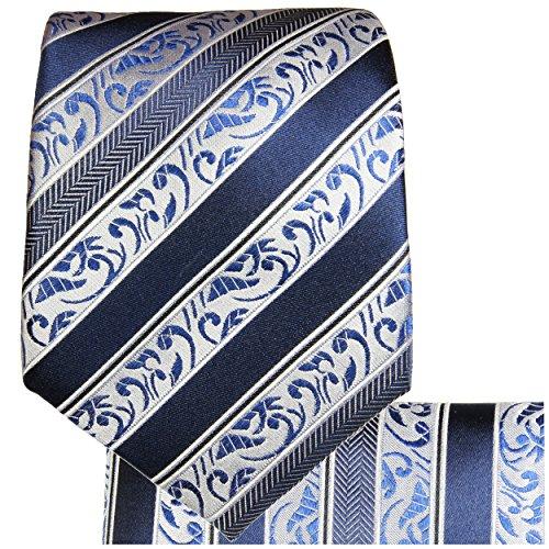 Cravate homme bleu baroque rayée ensemble de cravate 2 Pièces ( 100% Soie Cravate + Mouchoir )