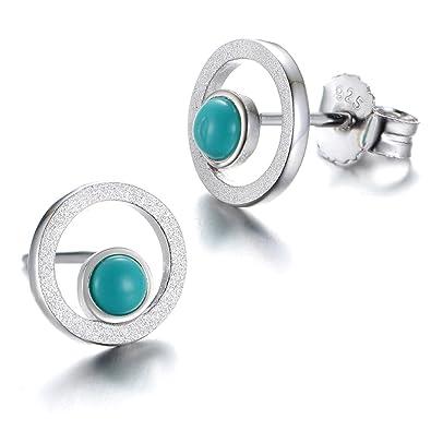 dd62183ea GW 925 Sterling Silver Turquoise Stud Earrings fit for Women/Girls in  Simple Design: Amazon.co.uk: Jewellery