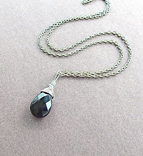 Black Onyx Gemstone Briolette Silver Wire Wrapped Pendant Teardrop Necklace