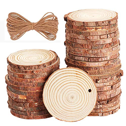 40 pcs 2.4-2.8 inch Natural Wood Slices for Craft Wood Unfinished Kit Predrilled with Holes Wooden Circles Great for Arts Rustic Christmas Ornaments DIY Wed -
