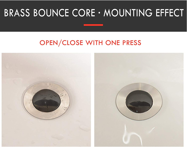 ObestChoose Universal Wash Basin Bounce Drainer Filter, Anti-Clogging Kitchen Bathroom Sink Drainer, No Overflow Pop Up Sink Drain Stopper Plug with Basket Top Cover 36mm