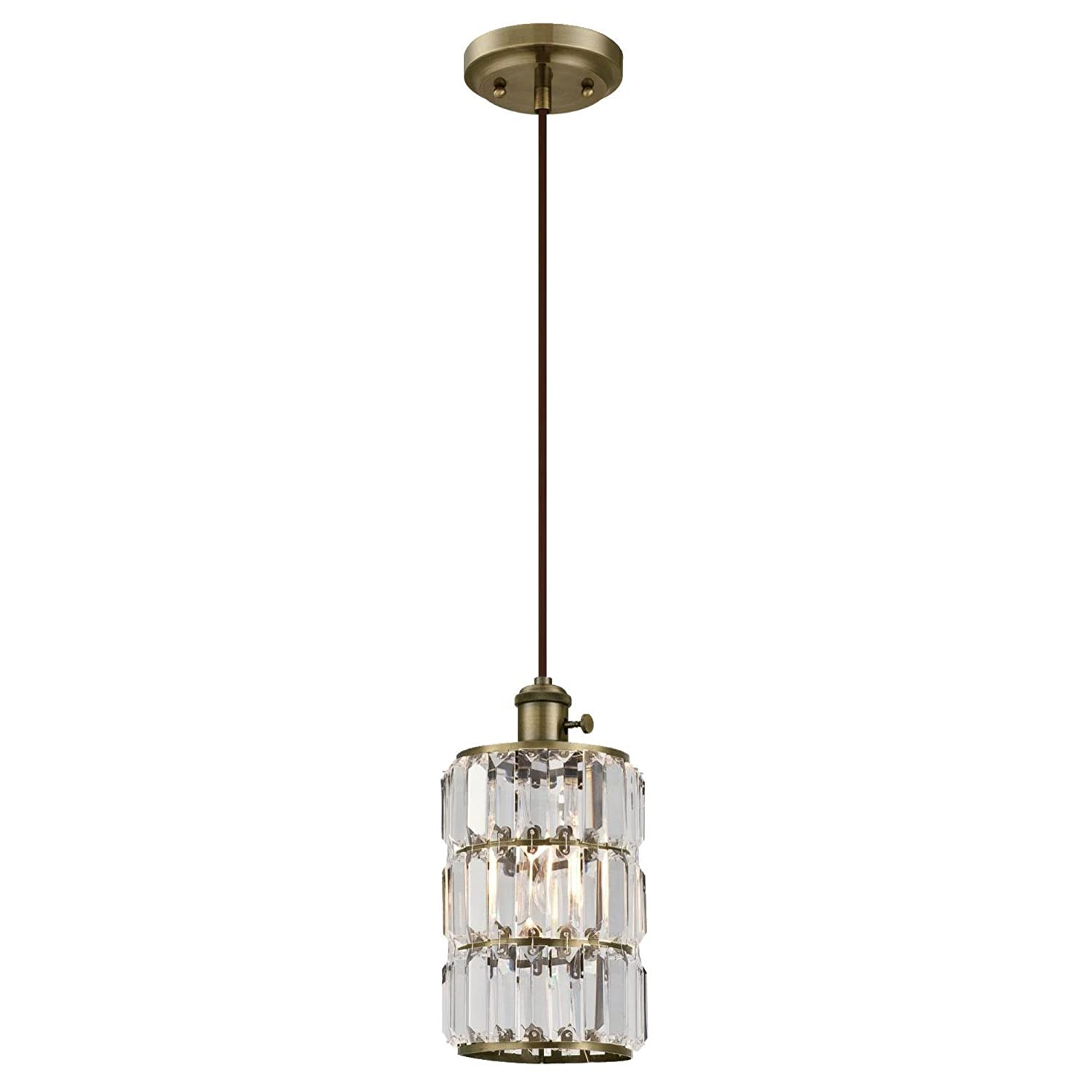 Westinghouse Lighting 6337100 Sophie One-Light Indoor Mini Pendant with On//Off Turn Knob Antique Brass Finish and Crystal Prism Glass