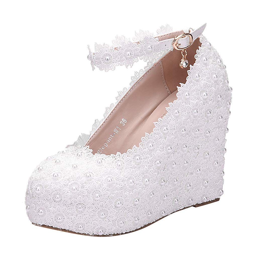 WONdere Women's Lace Flower A Word Strap Large Size Platform Wedding Wedges Shoes
