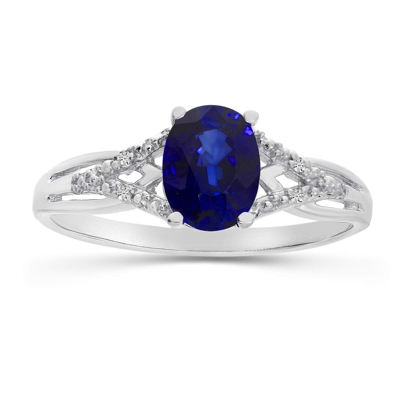14k White Gold Oval Sapphire And Diamond Ring (Size 8) by Direct-Jewelry