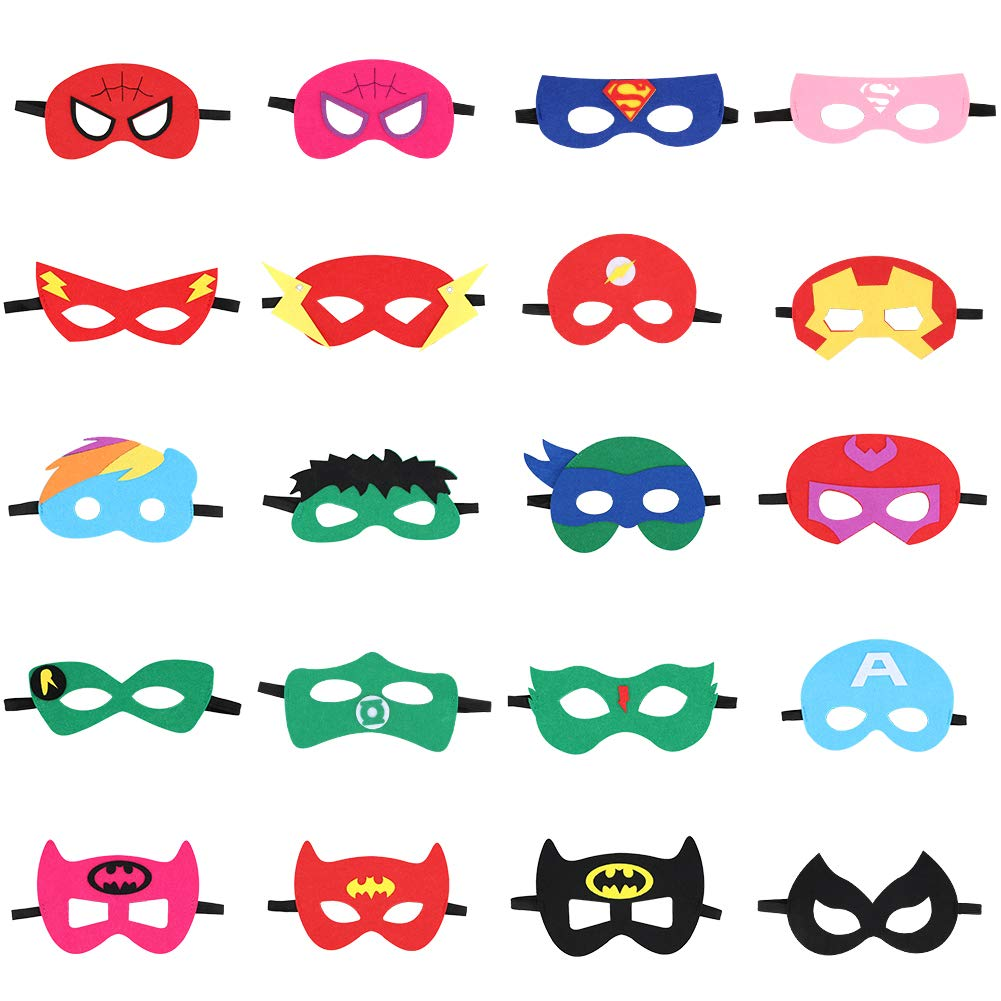 NIANPU Superhero Masks Superhero Party Supplies Party Favors Half Masks for Children Boys Girls Aged 3 Party Favors