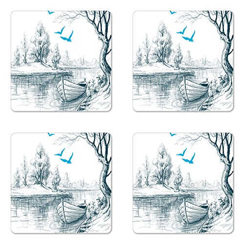 Ambesonne Landscape Coaster Set of Four, Boat on Calm River Trees Birds Twigs Sketch Drawing Clipart Water Minimalist, Square Hardboard Gloss Coasters for Drinks, White Gray Blue