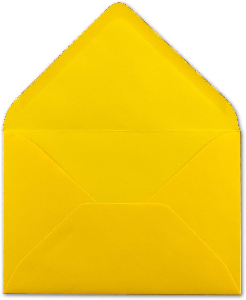 Gru/ßkarten Serie FarbenFroh/® DIN C5 Kuverts 22,0 x 15,4 cm Brief-Umschl/äge in Honiggelb 100 St/ück Weihnachten Nassklebung ohne Fenster