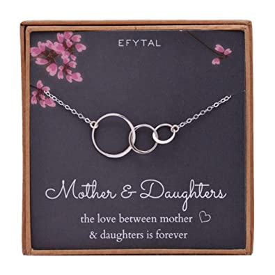 4d3e67435 Amazon.com: EFYTAL Mom 2 Daughters Necklace, Sterling Silver Three 3  Interlocking Infinity Triple Circles, Mothers Day Jewelry Gift: Jewelry