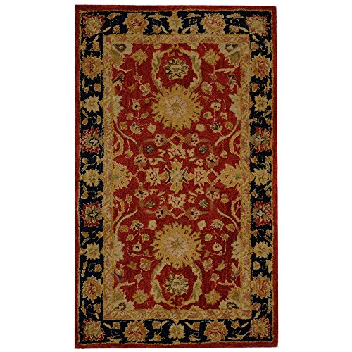 Safavieh Anatolia Collection AN517A Handmade Traditional Oriental Red and Navy Wool Area Rug (3′ x 5′)