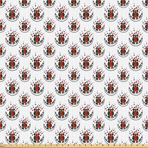 (Ambesonne Owls Fabric by The Yard, Musician Pianist Owl with Headphones and Playing a Moon Shaped Piano Clipart Style, Microfiber Fabric for Arts and Crafts Textiles & Decor, 10 Yards, Brown Grey Red)