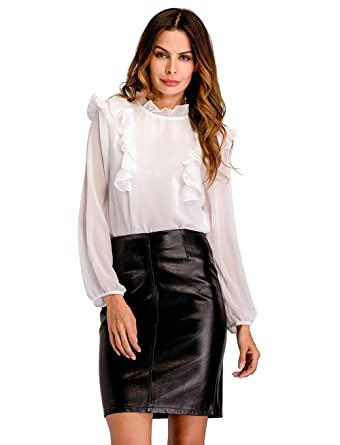 09476b4b15 EFINNY Women s Chiffon Office Lady Button Down Shirts Ruffle Long Sleeve  Blouse Tops