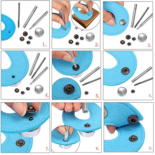 by Outee 633 69 Sets Snap Fastener Kit Button Tool Press Studs Fastener Snap on Set Clothing Snaps Kit Fixing Tool 12.5mm
