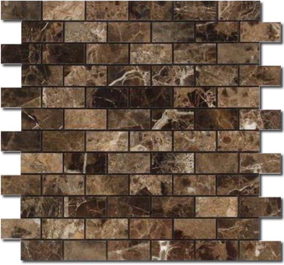 Tiles Emperador Dark Marble Mosaics Sheet 1x2 in Polished DX-1643 12x12 in