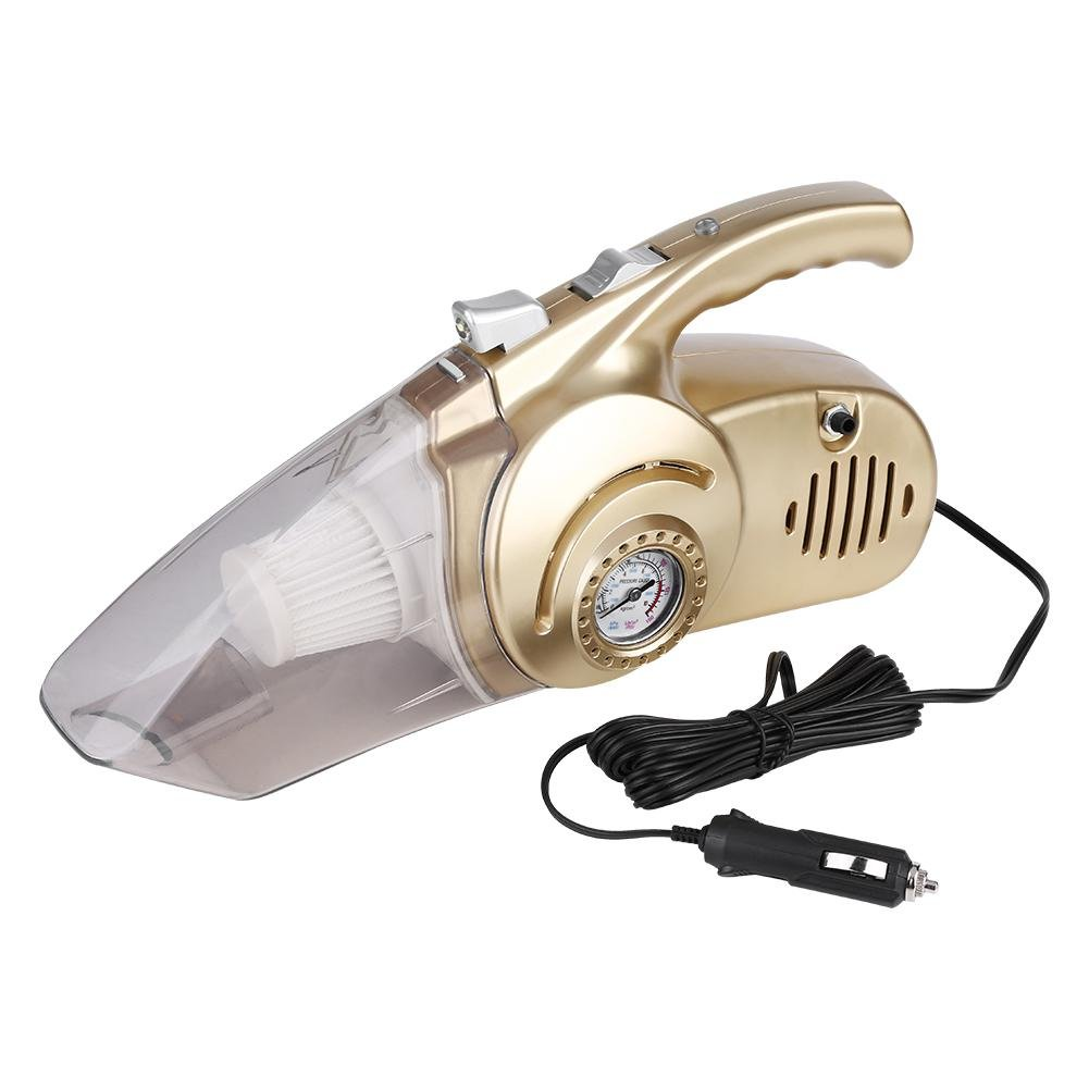 Hand Vacuum, Acouto Car Handheld Wet Dry 12V Portable 4 in 1 Vacuum Cleaner with Tire Inflator LED Lamp Tire Pressure