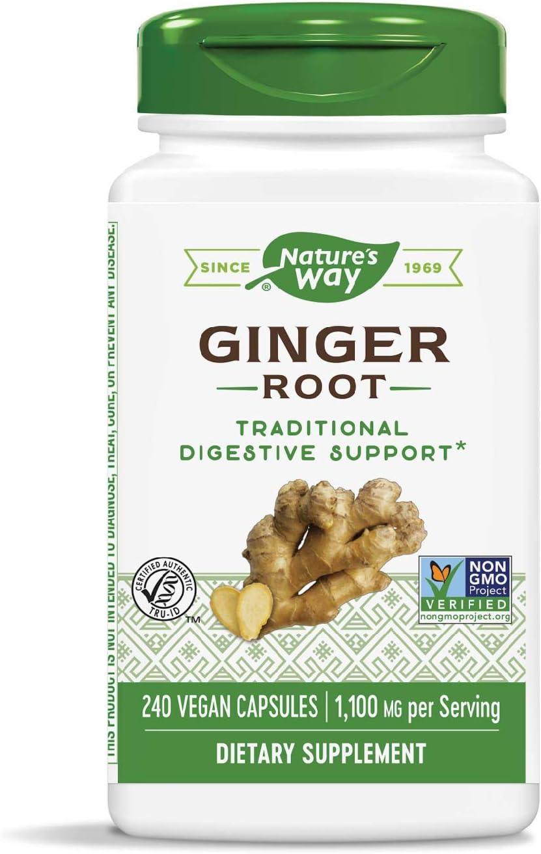 Nature's Way Premium Herbal Ginger Root, 1,100 mg per serving, 240 Capsules: Health & Personal Care