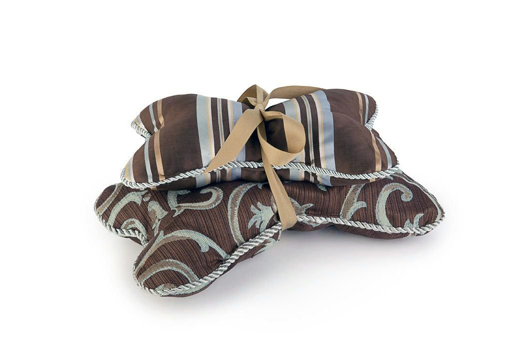 Croscill Bone-Shaped Dog Bed Pillow with Squeaker, Brown Chocolate Scroll, Set of 2