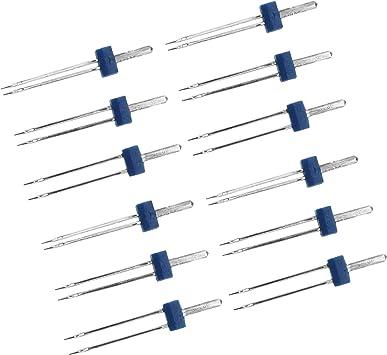 12 agujas dobles dobles para máquina de coser 2/90 3/90 4/90 ...