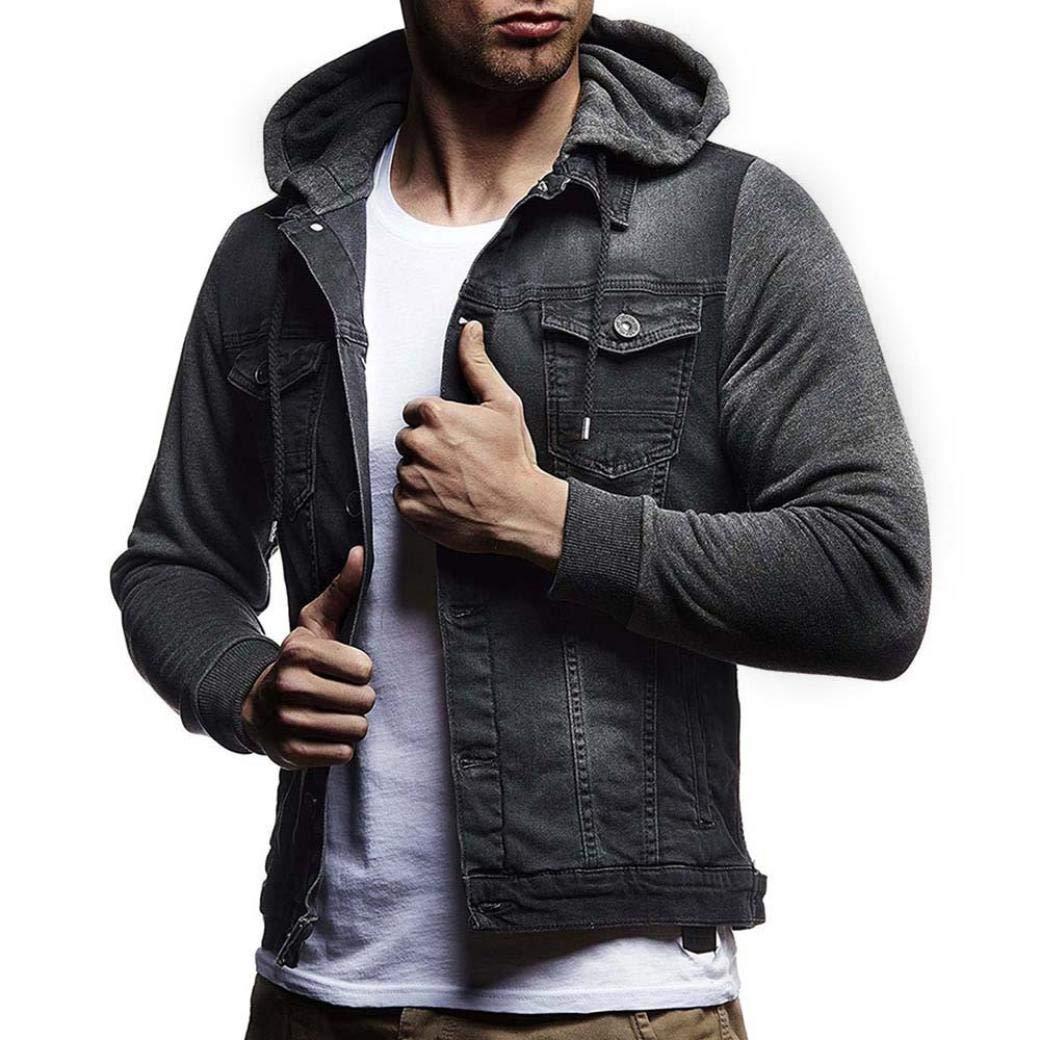HTHJSCO Men's Winter Denim Hooded Jacket Slim Fit Casual Jacket Button Down Distressed Jeans Coats Outwear (Gray, L)