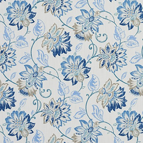 B0301A Blue Taupe and White Floral Vines Cotton Print Upholstery Fabric By The (High End Upholstery)