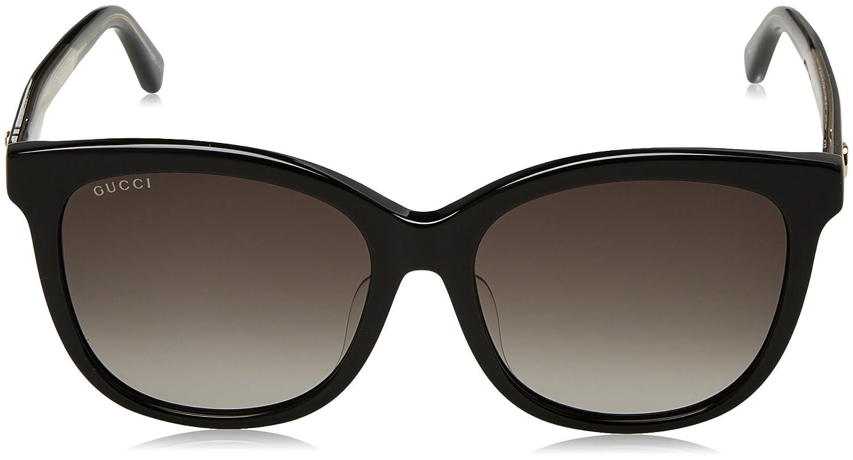 Gucci Unisex-Erwachsene Sonnenbrille GG0082SK 001, Schwarz (Black/Grey), 56