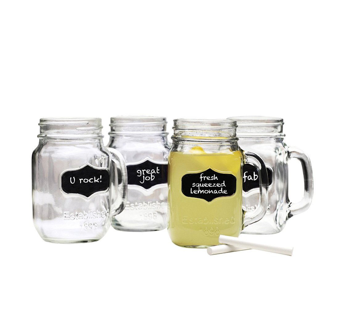 Lily's Home Old Fashioned Chalkboard Mason Jar Mugs with Handles, Vintage Inspired with Chalk Included, Great as Old Fashion Drinking Glasses at BBQs and Parties, Clear (16 oz. Each, Set of 4)