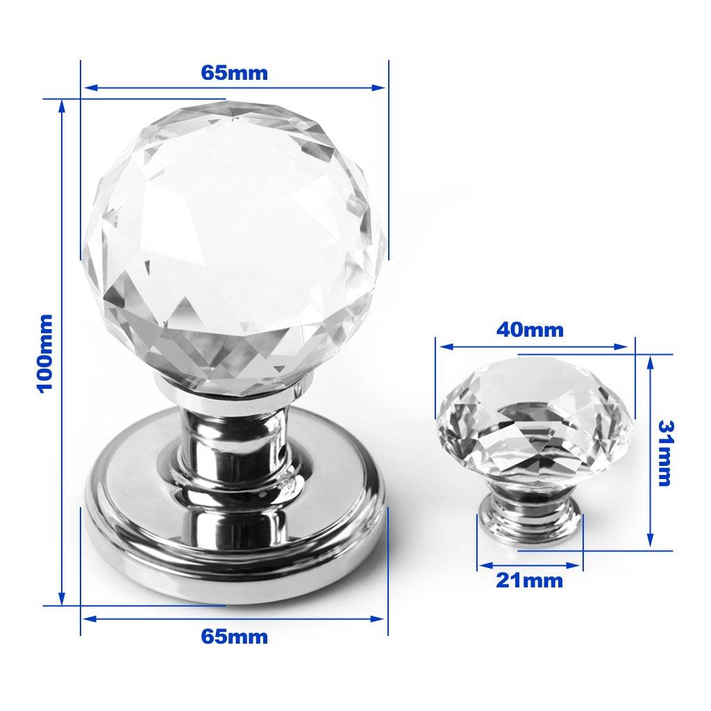Paire de poign/ées de porte en verre cristal transparent de 65 mm extra large pour cuisine ou chambre /à coucher avec vis