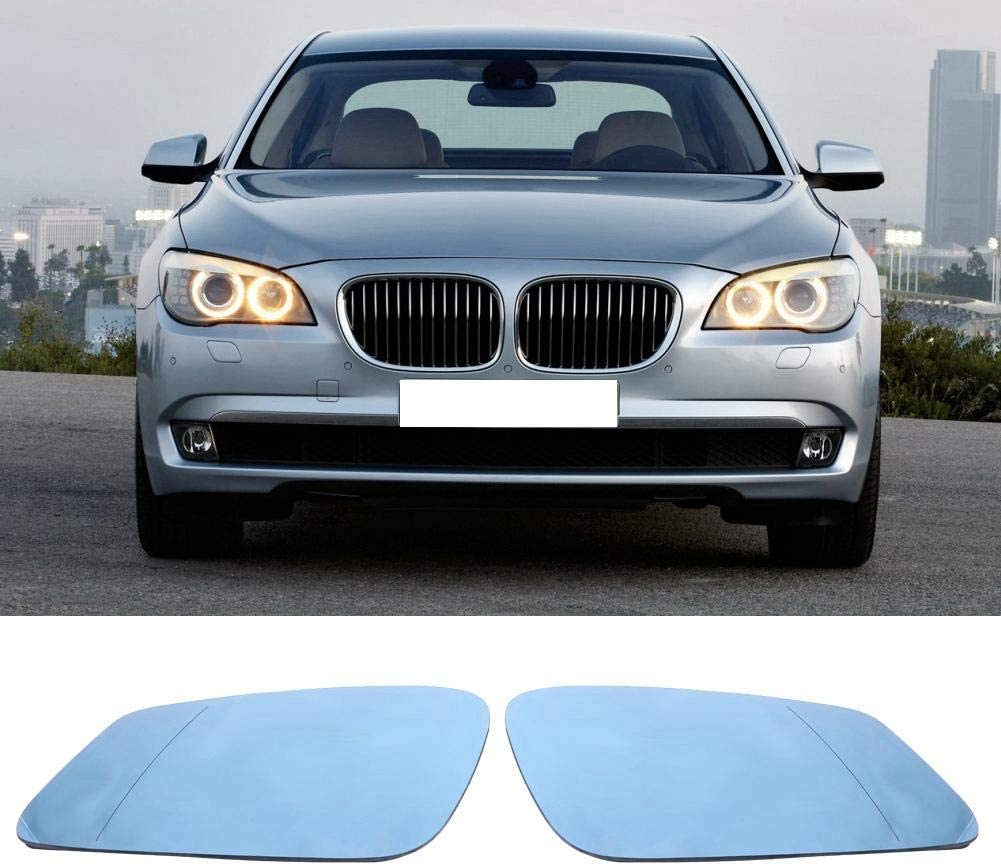 Hlyjoon 2Pcs Car Side Rearview Mirror Glass Heated Anti-Fog Blue Left and Right Vehicle Door Exterior Rear View Mirrors Glasses for 5 6 7 Series 2008 2009 2010 2011 2012 2013 51167251583 51167251584