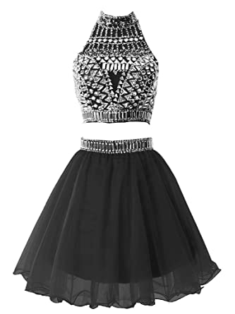 Snowskite Womens Short Two Pieces Beading Tulle Homecoming Prom Dress Black 0