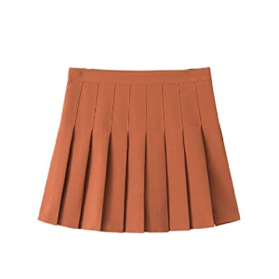 CuteRose Women A-Line Flare Pleated Solid Colored Summer Thin Mini Skirt: Ropa y accesorios