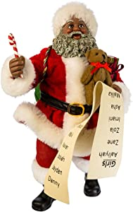 "Kurt Adler 10.5"" Fabriche' Black Santa with List and Candy Cane"