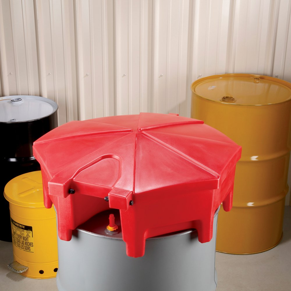 "New Pig Poly Drum Funnel with Hinged Lid, For 55 Gal Tight-Head Steel & Poly Drums, 29"" Diam x 11"" H, Red, DRM672-RD by New Pig Corporation (Image #2)"