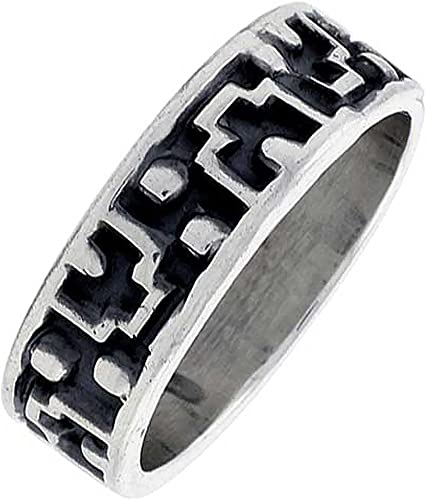 Size 6 14 Native American Style Tribal Wave Design Sterling Silver Ring Band