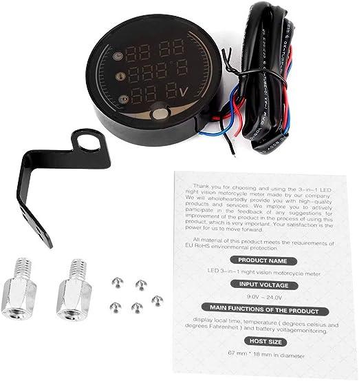 3-in-1 Motorcycle Electronic Digital Thermometer Voltmeter Temperature Gauge Clock Akozon Motorcycle Multi-function Meter
